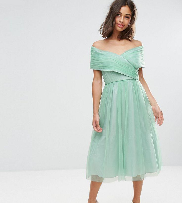 ASOS PETITE WEDDING Tulle Midi Dress - Green