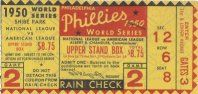 1950 World Series Game 2 Ticket. The Yankees beat the Phillies in four games.