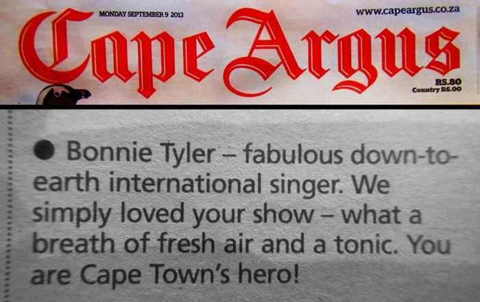 Bonnie Tyler - South Africa // Afrique du Sud - 2013 : Here is a great little article about Bonnie Tyler in South Africa. (Thank you Forrest) #BonnieTyler #SouthAfrica