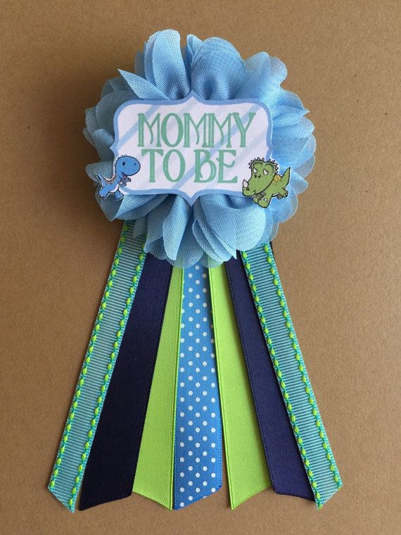 Dinosaurs Baby Boy Shower Mommy-to-be Flower Ribbon by afalasca