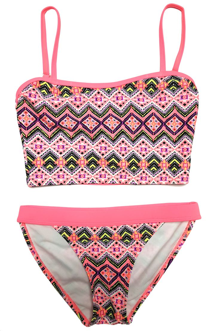 Heat Swimwear - Coral Aztec Cami Top Bikini Set, $19.95 (https://www.heatswimwear.com/coral-aztec-cami-top-bikini-set/)