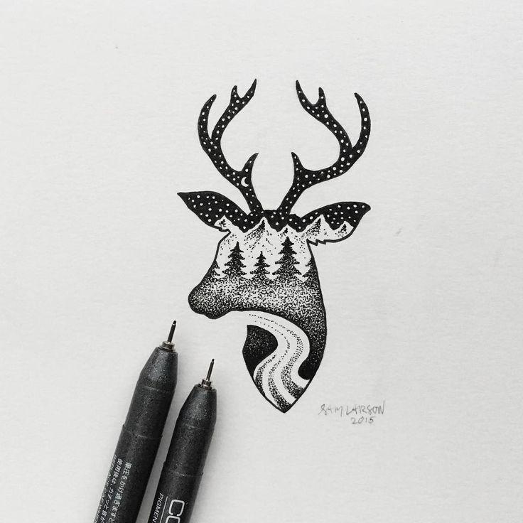 """""""FINISHED  #deer #art #illustration"""""""