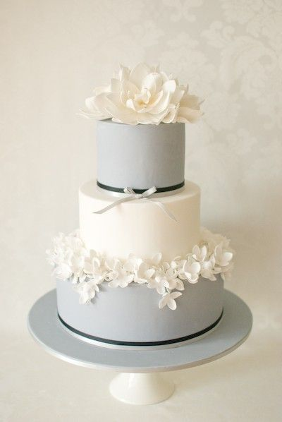 Gray & White Wedding cake with sugar flowers