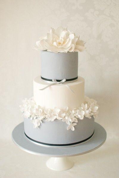 Gray & White Wedding cake with sugar flowers