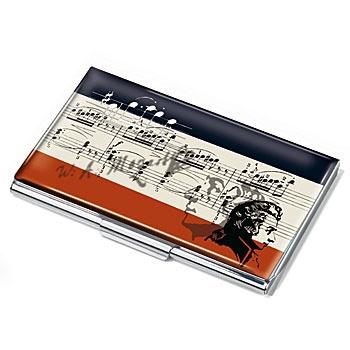 """SINFONIE  Porta cartões plana, com etiqueta design, metal, brilhante cromado, design Sinfonie """""""""""