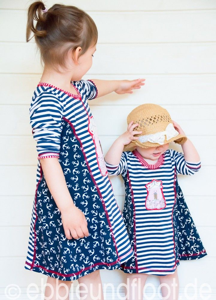 Kiara Jerseykleid farbenmix - maritim Look für Kinder selber nähen