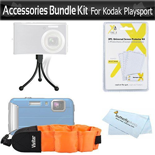 Float Strap Accessories Bundle Kit For Kodak PlaySport Zx5 HD Waterproof Pocket Video Camera Includes Mini Flexible Tripod  Floating Strap  LCD Screen Protectors  MicroFiber Cleaning Cloth * Read more at the image link.