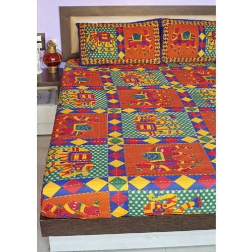 "Gleamberry | Multicoloured Kutchi Applique Work Handloom Double Bedsheet with 2-Pillow Covers(88""X103"")"