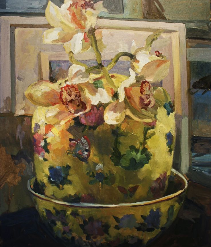 Orchids in the Yellow vase - Oil on canvas
