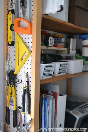 Pegboard sided bookcase - get a cheap bookcase from a thrift store or Goodwill and add a pegboard to one side - perfect for garage storage