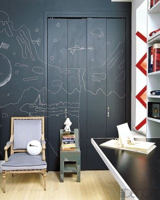 Chic 'n Cheap Living: Decor Thoughts: DIY Chalkboards around the house: Closet Doors, For Kids, Chalkboards Paintings, Chalk Wall, Chalkboards Drawings, Elle Decoration, Chalkboards Wall, Offices Interiors, Kids Rooms