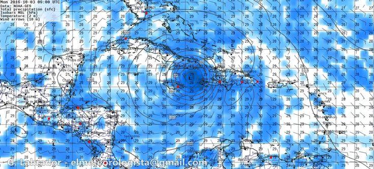 Hurricane, forecast maps for october 2 - 4, Jamaica, Haití, Cuba, NOAA data, with GFS model. on Vimeo