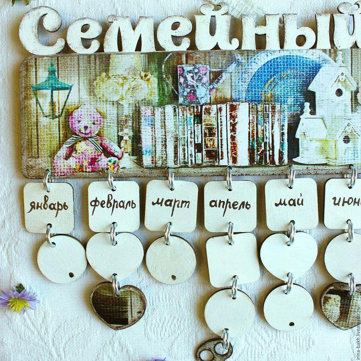 """Купить Семейный календарь дней рождения """"Шебби"""" - календарь, календарь ручной работы, подарок женщине"""
