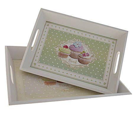 CUISINE PROVENZALE: Set di 2 vassoi in legno con cupcakes - L 39/35 cm