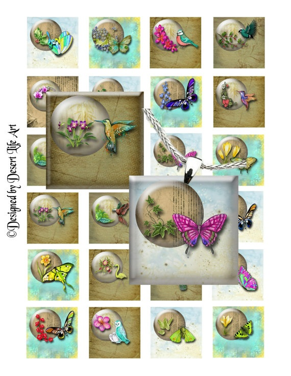 CIRCLES WITHIN  Birds & Butterflies  Digital by DesertLifeArt, $4.50