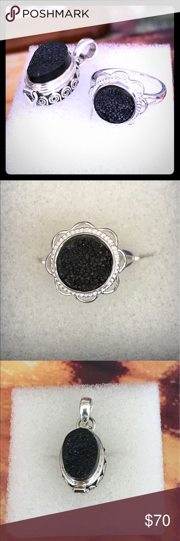 Black druzy floral ring and poison pendant Size 6.75, black druzy floral ring, stamped 925 solid sterling silver with black druzy poison pendant. Latch opening, stamped 925 solid sterling silver. Jewelry