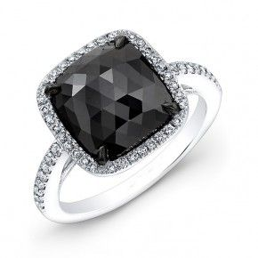3.21ct Cushion Black Diamond Ring
