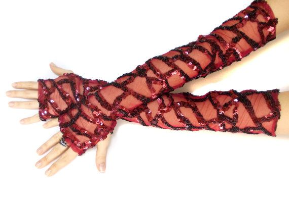 Red burgundy thumbhole shiny long gloves cuffs, dance costumes gloves accessories, Lolita Sexy gloves