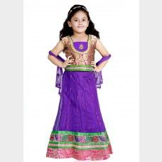 Pink and Purple kids Net Lehanga