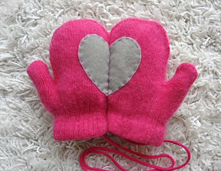 KIDS SIZE, Pink Mittens with Grey Felt Heart. $32.00, via Etsy.
