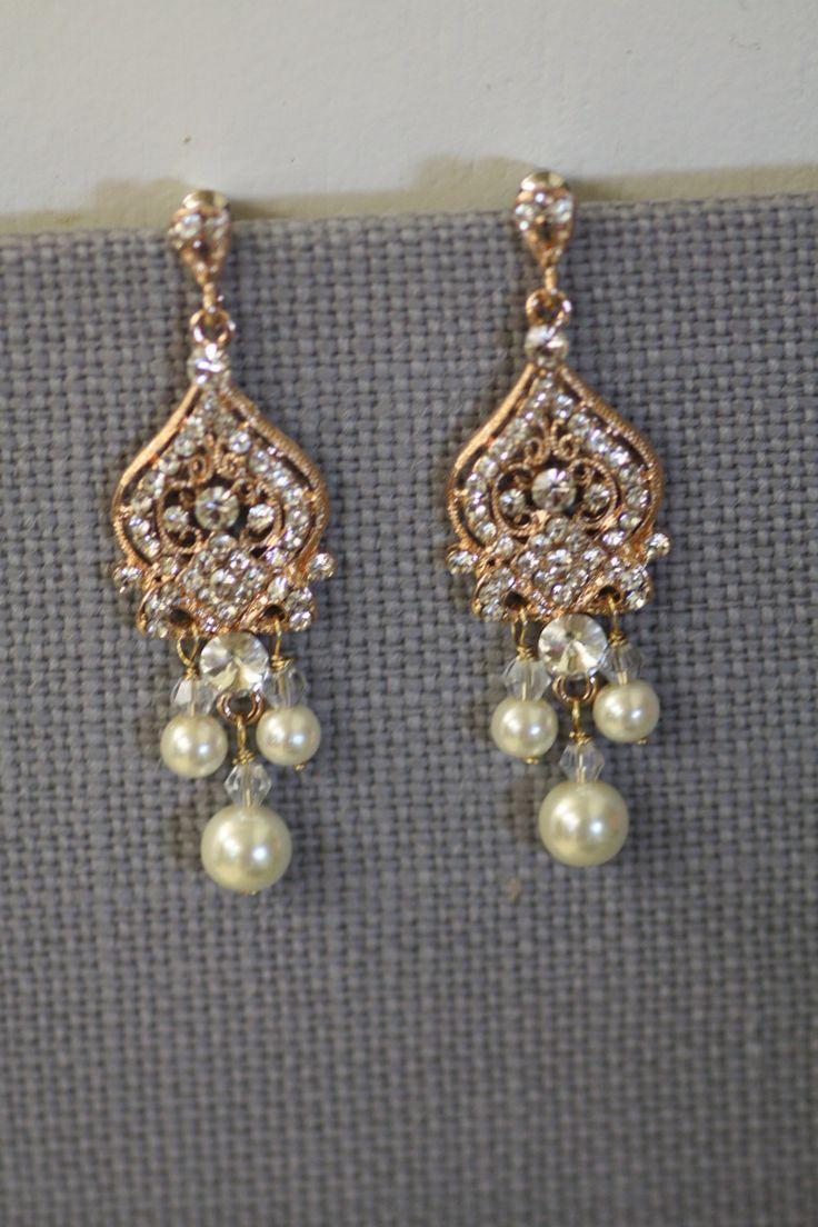 212 best bridal jewelry images on pinterest bridal bridal rose gold bridal earrings chandelier earrings bridal earrings wedding earrings pearl earrings arubaitofo Gallery