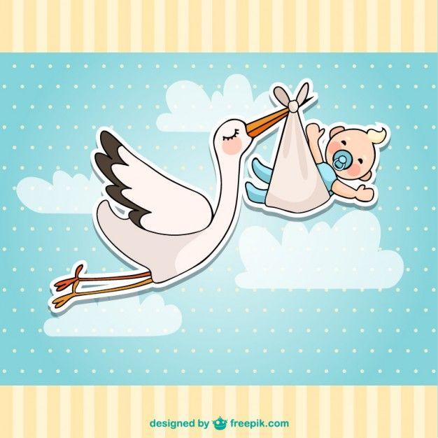 Tarjeta de bienvenida del bebé con cigüeña y bebé Vector Gratis