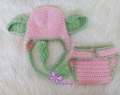 $25 Star WarsYoda crochet hat and diaper cover set Yoda Hat Star Wars Hat Girl Pink&green POPULAR Worldwide Perfect Gift Yoda crochet hat girls