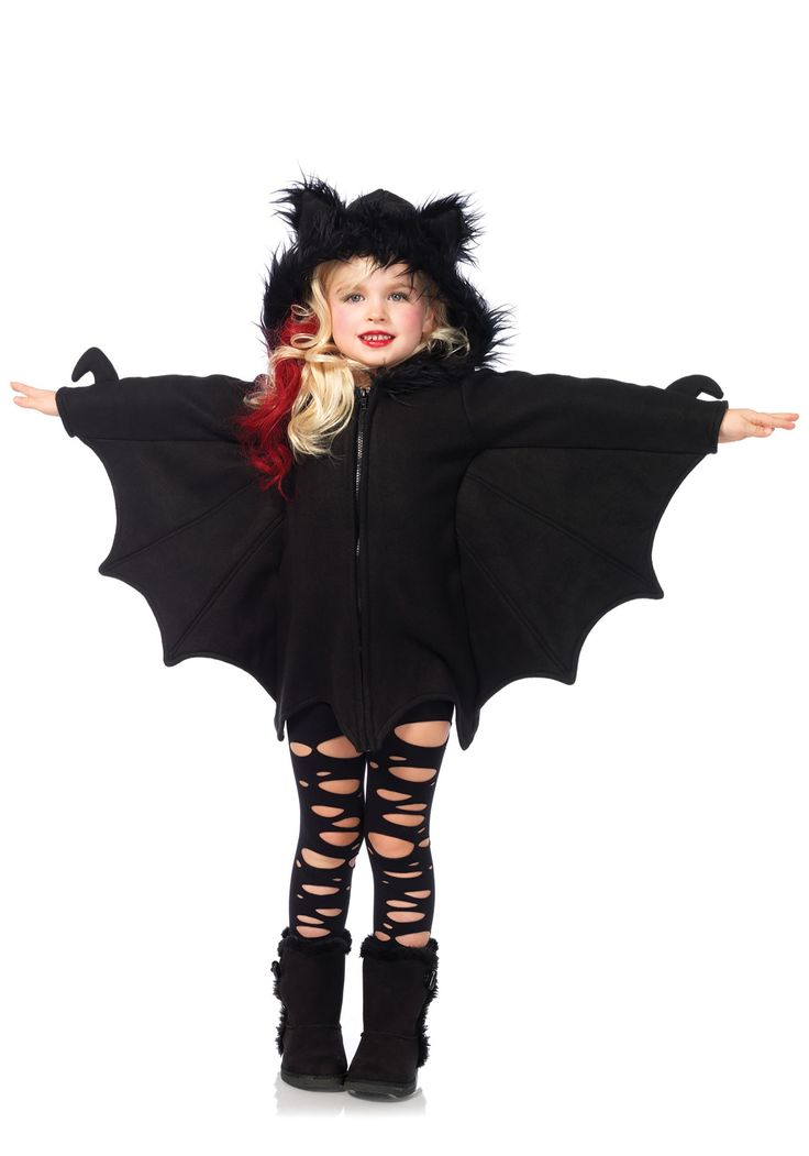 this adorable cozy bat dress child costume features a zipper front fleece dress with awesome bat wing sleeves and furry ear hood perfect for halloween - Pictures Of Halloween Costumes For Toddlers