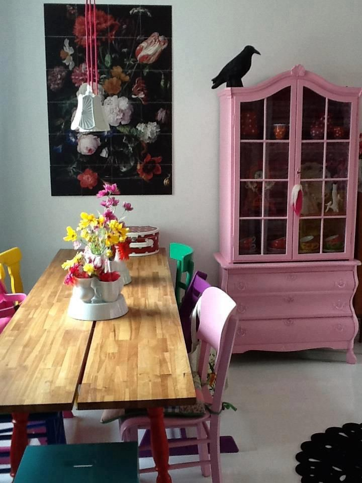 just saw a china cabinet like this at goodwill last week.. never thought of painting it a bright color!
