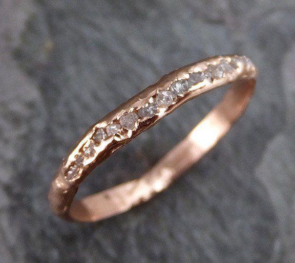 Raw Rough Uncut Diamond Wedding Band 14k Rose Gold Pink Diamond Wedding Ring