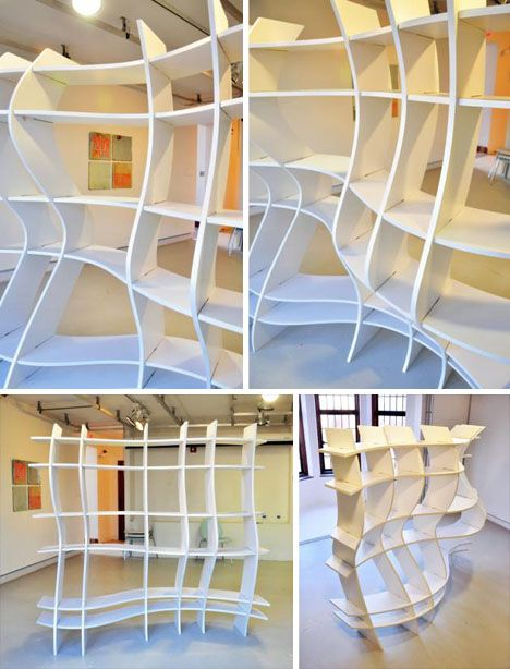 Bizzare Bookcase Design with Crazy Cool Curved Shelves