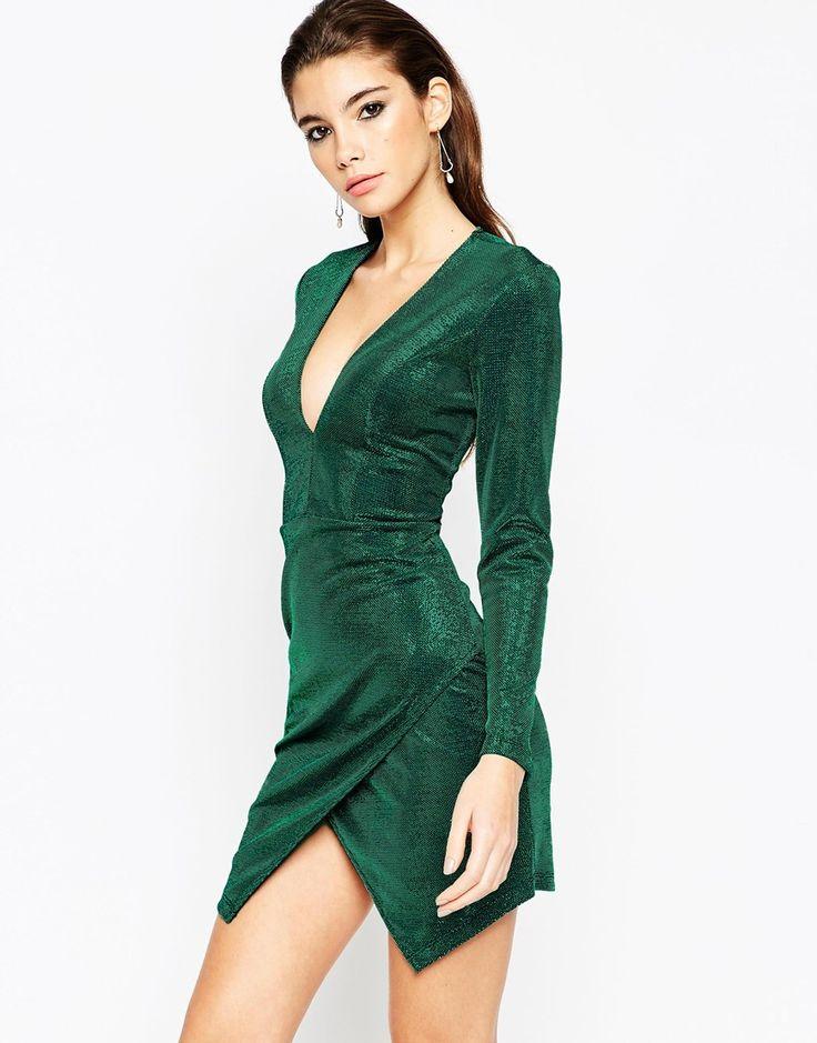 New Years 2016! ASOS NIGHT Metallic Wrap Plunge Mini Bodycon Dress