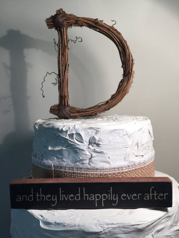 letter d twig topper d standard grapevine topper rustic rustic wedding cake toppers letter d