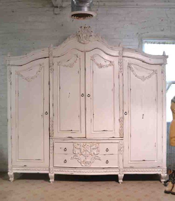 French Armoire Painted Cottage Chic Shabby French Romantic Armoire Wardrobe Media Cabinet Am260 With Images Shabby Chic Room French Armoire Shabby Chic Dresser