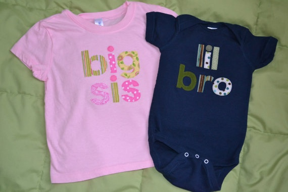 Big Sister/ Little Brother/ Big Brother/ by SweetThingsforBaby, $44.00: Sibling
