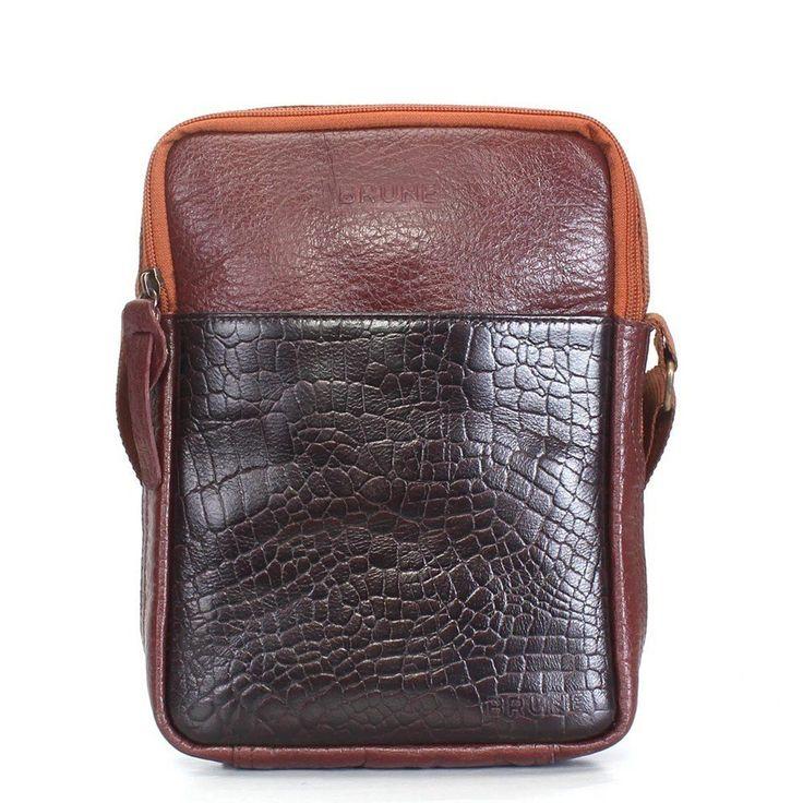 #Brune #Leather #Brown Unisex #Messenger #Bag