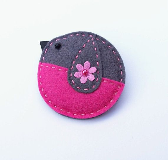 Chaffinch felt brooch