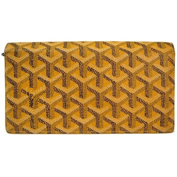 Pre-owned Goyard Richelieu Wallet Canvas/leather ($750) ❤ liked on Polyvore featuring bags, wallets, accessories, yellow, coin pocket wallet, brown leather wallet, goyard wallet, yellow wallet e genuine leather wallet