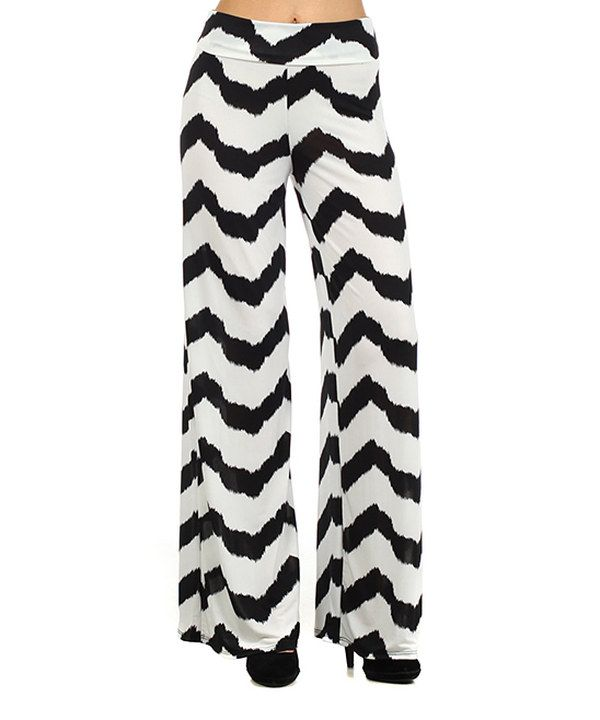 Love this Black & White Zigzag Palazzo Pants by Pretty Young Thing on #zulily! #zulilyfinds