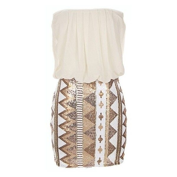 White Strapless Dress w/ Aztec Sequin Skirt ($39) ❤ liked on Polyvore featuring dresses, vestidos, kleider, white dress, cocktail dresses, henley dress, aztec dress and aztec print dress