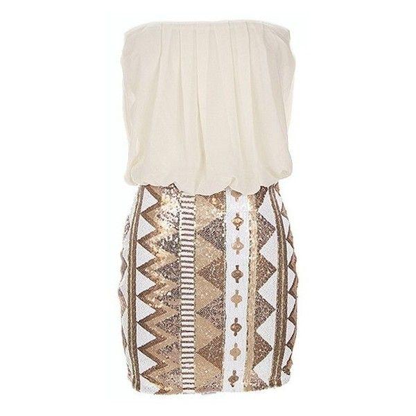 White Strapless Dress w/ Aztec Sequin Skirt ($39) ❤ liked on Polyvore featuring dresses, vestidos, kleider, white dress, cocktail dresses, henley dress, aztec dress and aztec print dress