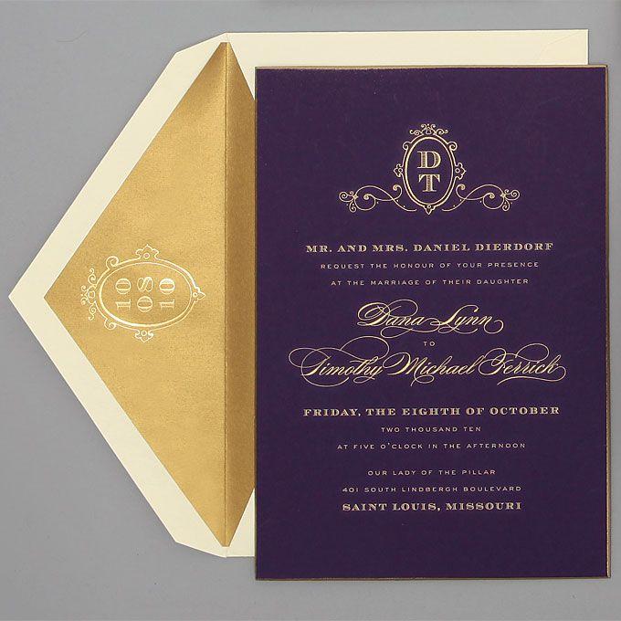 Brides.com: Wedding Invitations by Location. Ballroom. Plum Royalty invitation, $3,200, Cheree Berry Paper