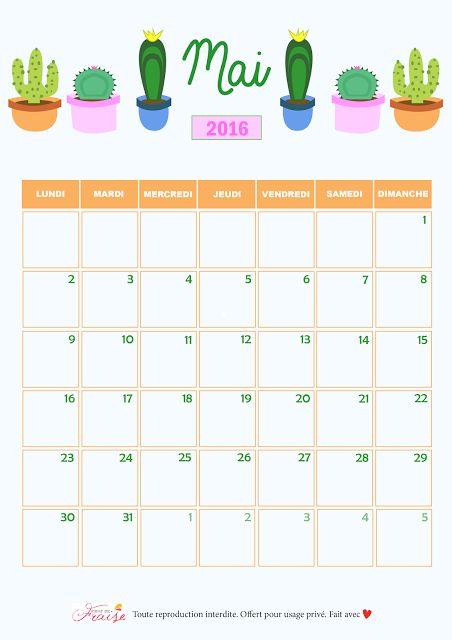 CALENDRIER DIY MAI 2016 (free printable)