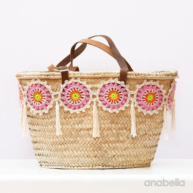 Customized summer bag with crochet motifs - Tutorial ❥ 4U hilariafina http://www.pinterest.com/hilariafina/