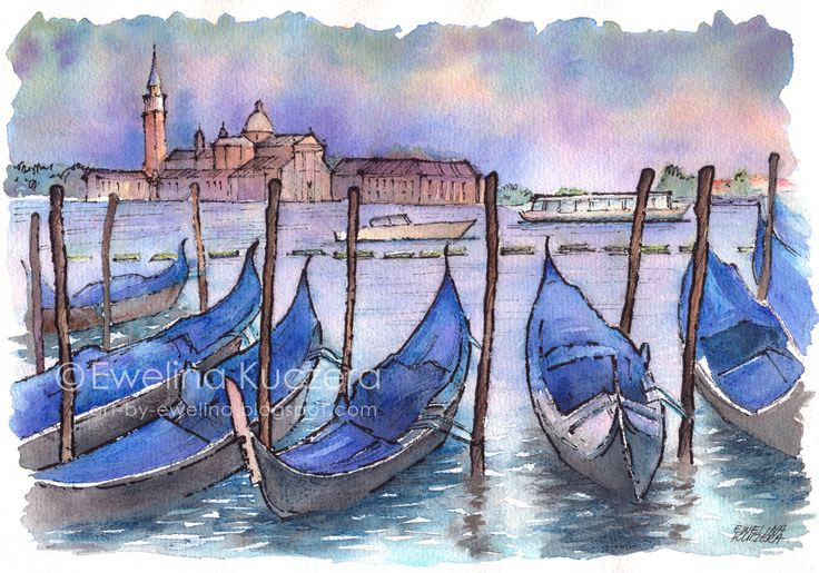 #venice #evening #boats #architecture #italy #sunset #violet #blue #ink #fineliners #watercolorpencils #fabercastell #watercolor #art #painting #sketch #urbansketch #ewelinakuczera #summer #sightseeing #illustration