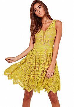 margarita yellow lace skater φόρεμα