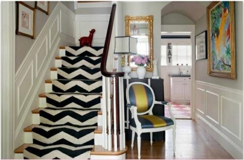 Love the stair runnerDecor, Chairs, Interiors, Stairs Runners, Chevron Stairs, House, Stair Runners, Homes, Design