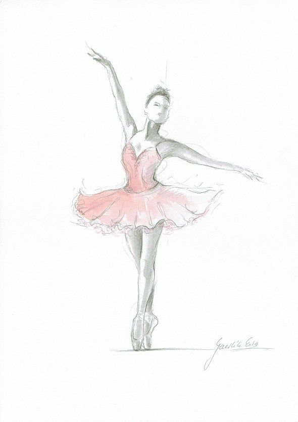 Set Of 3 Prints Ballerina Art Pink Ballerina Watercolor Ballet
