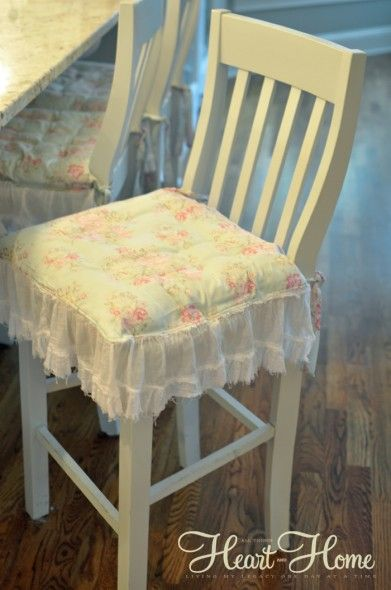Shabby Chic Chair Cushions & Painted Bar Stools! - All Things Heart and Home