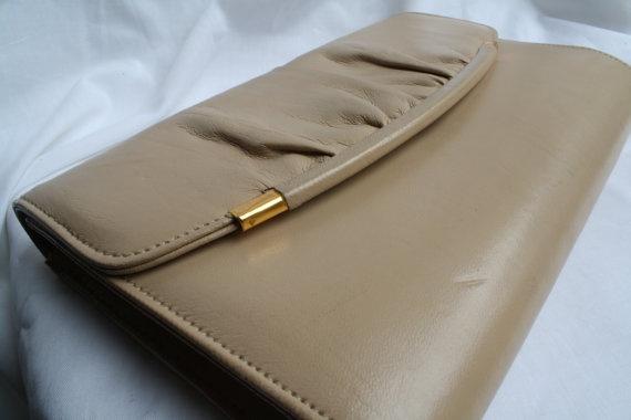 80s cream clutch bag